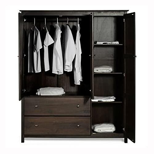 HomyDelight Wardrobe & Armoire, Espresso Wood Finish Bedroom Wardrobe Armoire Cabinet Closet