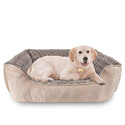 JOEJOY Rectangle Dog Bed for Large Medium Small Dogs Machine Washable Sleeping Dog Sofa Bed Non-Slip Bottom Breathable Soft Puppy Bed Durable Orthopedic Calming Pet Cuddler, Multiple Size, Beige
