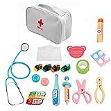 chora Pretend & Play Doctor Kit para niños, Juguetes médicos, niños Doctor Kit Pretend Play 15PCS Equipo para Regalo de niños Doctor Set Kit de Primeros Auxilios de Madera Estetoscopio Designer Way