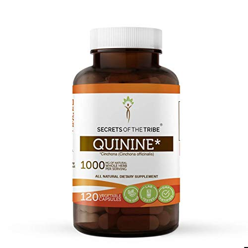 Secrets Of The Tribe Quinine Capsules 1000 mg Wildcrafted Quinine (Cinchona officinalis) Dried Bark, Leg Cramp Support Supplement (120 Capsules)