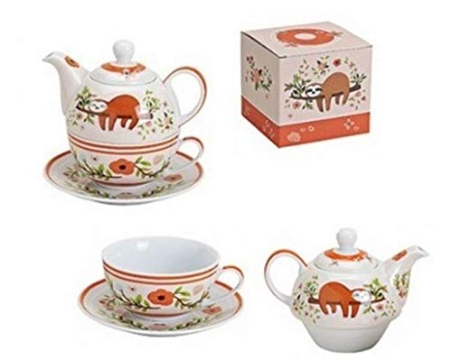 Trendstern Trendprodukteshop Tea for One Porzellan Tee Set mit Motiv Faultier in Geschenkbox + Extra
