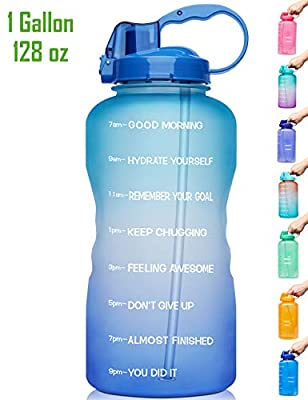 Venture Pal Large 1 Gallon/128 OZ (When Full) Motivational BPA Free Leakproof Water Bottle with Straw & Time Marker Perfect for Fitness Gym Camping Outdoor Sports-Green/Pink Gradient
