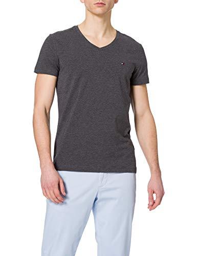 Tommy Hilfiger Herren Stretch Slim FIT Vneck Tee T-Shirt, Schwarz/Erika, M