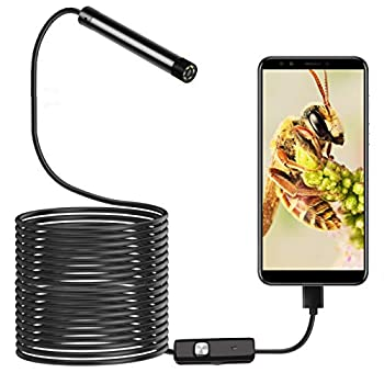 USB Endoscope 3-in-1 Borescopes 5.5mm Inspection Camera IP67 Waterproof Snake Camera with 6 Adjustable LED Lights for Type-C & Android & PC