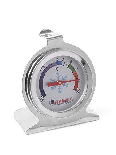 HENDI Kühlschrankthermometer, Digital Thermometer, Wasserdicht, Digital Khülschrank, Messbreich -50 °C bis +25 °C, Graduierung 2,5°C, ø60x(H)70mm, Edelstahl