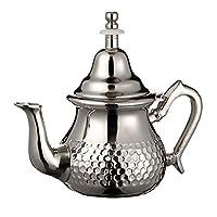 teiera in argento marocchino, perfetta per tè alla menta, include coperchio e filtro integrato, autentico con un classico design martellato, realizzato a mano, 350 ml, circa 3 bicchieri da tè