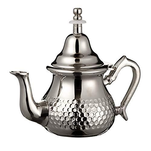 Tetera de plata marroquí perfecta para té de menta, incluye cubierta de mango y filtro integrado, auténtico con un diseño clásico martillado, hecho a mano, 350 ml, alrededor de 3 vasos de té