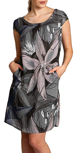 Caspar SKL035 knielanges Elegantes Damen Sommer Leinenkleid mit abstraktem Blüten Print, Farbe:dunkelgrau, Größe:XL - DE42 UK14 IT46 ES44 US12
