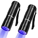 morpilot Black Light, 2 Pcs UV Handheld Blacklight Flashlights 12 Led 395nm Mini Light Torch Detector for Pets Urine and Stains