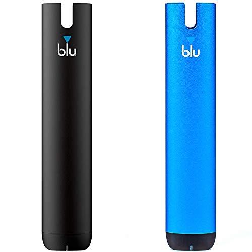 2 x E-Zigarette myblu Farbe Schwarz + Blau/Nur Batterieeinheit ohne Nikotin/ohne Tabak/ohne Pods - je 350 mAh mit USB Ladestecker + Halterung und Original myblu Zubehör!