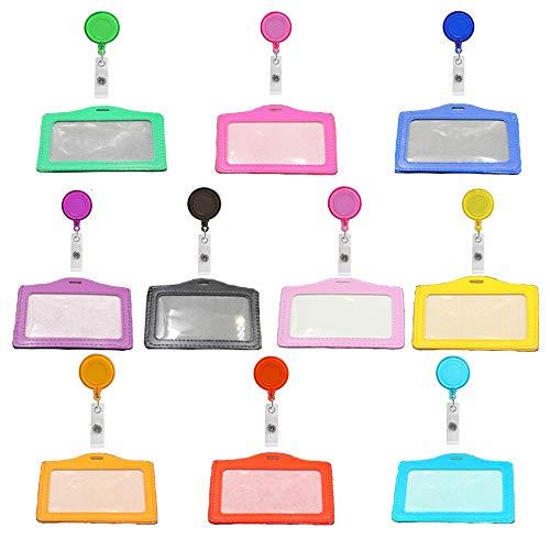 Aweisile Porta Tarjetas Identificativas Colgante 10 Piezas Porta tarjetas Identificativas Porta Tarjetas Carrete Retráctil de Insignia 10 color para enfermeras personal de oficina estudiantes