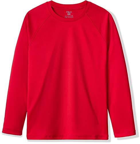 TSLA Bss34 - Costume da bagno a maniche lunghe, con protezione solare UPF 50+, taglia XL, colore: Rosso