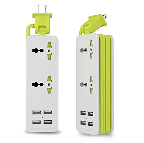 UPWADE Outlet Travel Power Strip Surge Protector with 4 Smart USB Charging Ports (Total 5V 4.2A Output) and 5ft Cord ,Multi-Port USB Wall Charger Desktop Hub Portable Travel Charger Charging Station