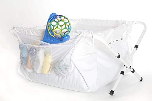Bibabad Premium - Bañera plegable para bebés con red de almacenamiento para juguetes i - Bañera antideslizante, portátil para ducha - Adecuado para niños de 1 a 8 años - Bañera independiente - Blanco 70-90 cm