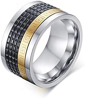 حلقة ذهبية أنيقة للرجال قابلة للدوران أسود الفولاذ المقاوم للصدأ مجوهرات الرجال