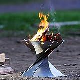 Pozo de fuego portátil, Estufa de calefacción plegable de acero inoxidable para exteriores de invierno para viajes, camping y leña en el patio trasero