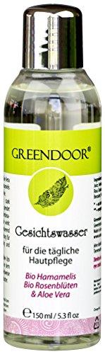 Greendoor natürliches Gesichtswasser mit BIO Hamamelis, BIO Rosenblüte und Aloe Vera Saft, 150ml, tonisierend, klärend, entspannend - vegane Naturkosmetik aus der Manufaktur