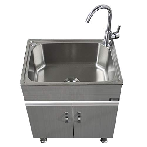 Learn More About Hermsi Stainless Steel Laundry/Utility Sink and Cabinet, Indoor/Outdoor, Large Wash...