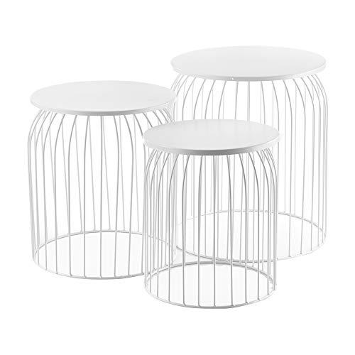 [en.casa] Set de 3X Cestas de Metal Mesa Baja Mesa Auxiliar para Almacenar Mesas de té y café Mesas de Centro Blanco