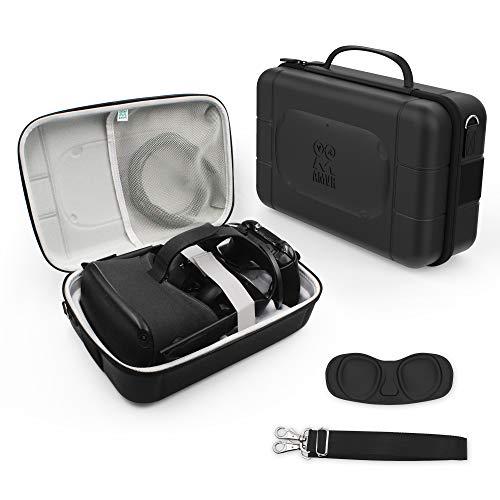 AMVR PU Leder Fashion Travel Case für Speicher Oculus Quest 1 VR Gaming Headset und Touch Controller, Gamepad, Mobile Power Zubehör wasserdichte Tragetasche
