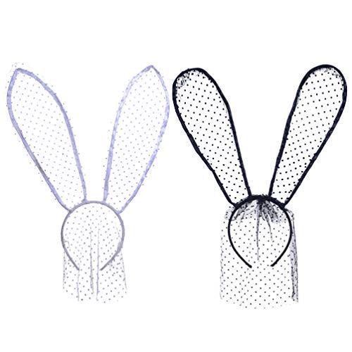 Minkissy Bandeau oreilles de lapin en dentelle 2pcs femmes dentelle masque de lapin bandeau lapin dentelle voile bandeau pour la fête dhalloween cosplay