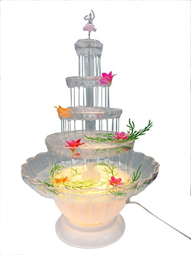 Lighted Plastic Water Fountain for Weddings, Garden, Home, Office, or Cake Centerpiece (20 inch)