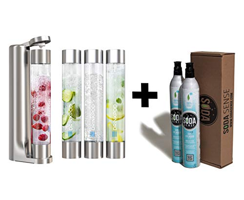 Fizzpod Soda Maker With Two CO2 Cylinders. Fizzy Sparkling Water Machine 3 Bottles(1L), Make Homemade Sparkle Water, Juice, Coffee, Tea and Cocktail Drinks with Fruit (Silver)