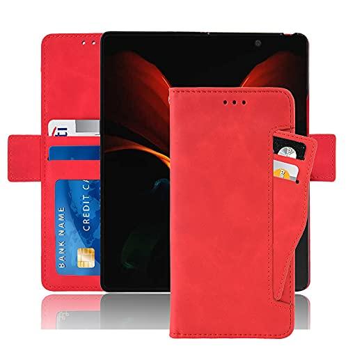 Hackers Schutzhülle für Samsung Galaxy Z-Fold2 / 5G, klassisches Leder, mit Kreditkartenfächern, Rot