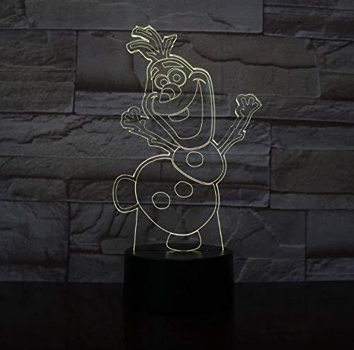 Boutiquespace 3D Nachtlicht Schneemann Olaf Nachtlicht für Kinder Schlafzimmer Dekor Batteriebetriebene Atmosphäre Hübsches Baby Led Nachtlampe