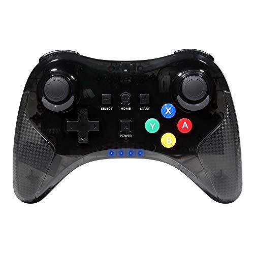 Jevogh Wireless Wii U Controller GR72X Wireless Controller Gamepad Joypad Remote per Nintendo Wii U PRO con Cavo USB - Trasparente Nero (Fatto da terze Parti)
