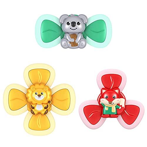 Finetoknow 3 juguetes de baño para bebé con ventosa divertida, juguete giratorio superior de juguete giratorio superior Spinner juguete seguro Interesante juego para niños pequeños juguetes de ducha