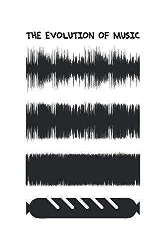 The Evolution Of Music - Producer Geschenk Notizbuch (Taschenbuch DIN A 5 Format Liniert): Lustiges Loudness War Notizbuch, Notizheft, Schreibheft, ... Witziges Motiv mit komprimierter Waveform.