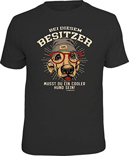 RAHMENLOS Original T-Shirt: Bei diesem Besitzer muss Man EIN Cooler Hund Sein -XL, Nr.6228