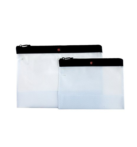 Victorinox Set of Two Spill-Resistant Pouches, Black/Red Logo, One Size