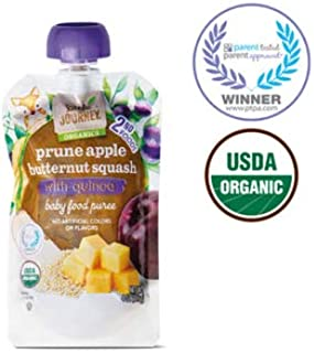 Little Journey 2nd Foods Organic Baby Food Puree Pouches: Prune Apple Butternut Squash Quinoa, On-the-Go - 4 oz.