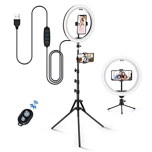 YECOOL Selfie LED Aro de Luz 12'' Regulable Anillo de Luz con Soporte de Trípode Extensible y Soportes para Luz de Anillo Ajustable para Maquillaje TikTok Live Streaming Youtube Lámpara de Anillo