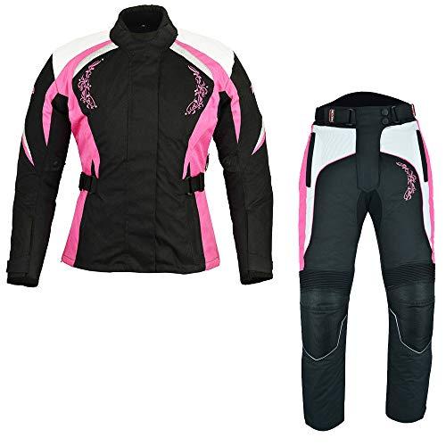 Wasserdichte Motorrad-Motorradanzüge für Frauen 2-teiliger Damen-Motorradanzug Motorrad-Moped-Ausrüstung aus Cordura-Stoff mit CE-geprüften Rüstungen (Pink, XS)