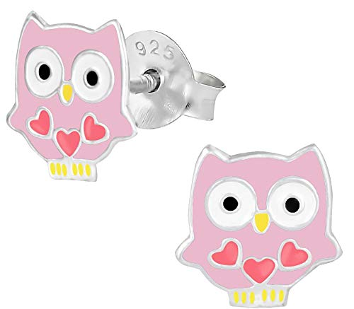 Hypoallergenic Sterling Silver Owl with Hearts Stud Earrings for Kids (Pink)