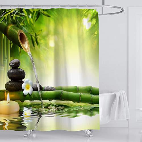 ufengke Cortinas de Ducha Bambú Verde con 12 Ganchos,Zen Cortina de Ducha de Tejido Prueba de Moho Impermeable al Baño (180X180cm)