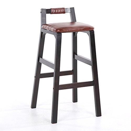 Guo shop- Style minimaliste européen, bois noir, bois massif, pivotant siège coussin Bar réception européenne chaise en bois banc Vintage tabourets hauteur 74 cm Bonne chaise (Couleur : D)