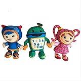 QWYU 3 unids/lote 22 cm equipo Umizoomi Bot Milli Geo Juguetes de peluche muñeca suave de peluche para niños
