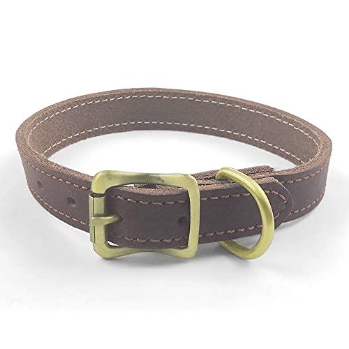 QianRuiDa Collar de cuero con hebilla de metal, hebilla tejida a mano, adecuado para mascotas de diferentes tamaños, buena resistencia y resistencia al desgaste (S)
