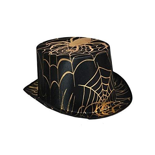 Generique - Chapeau Haut de Forme araignée Noir et doré Adulte Halloween