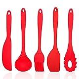 5 PCS Silicone Utensili da Cucina Set Compreso Pennello, 2 Spatola, Mestolo, Servispaghetti, Termoresistente Cucina Set,5pcs