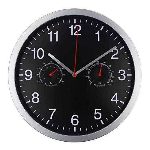 WLXJDJ Relojes de Noche de 12 Pulgadas Reloj de Pared de la Sala de Estar con 12 Pulgadas con y Humedad, Cuarzo Grande sin tictac para jardín/Cocina/Reloj Exterior