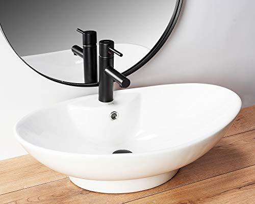 Design Keramik Oval Waschtisch Handwaschbecken Aufsatz-Waschschale 59x39x17 FÜR BADEZIMMER GÄSTE WC ROSA