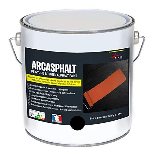 Bitumenfarbe ARCASPHALT : Bitumenanstrich - Asphaltfarbe - Teerfarbe - Kunstharzlack für Böden aus Bitumen, Asphalt, Teer - Schwarz - 3,75 kg, 7,5 m² für 2 Schichten