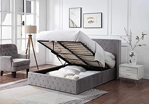 Home Treats Double Bed Frame with Brushed Velvet Winged Headboard Ottoman...