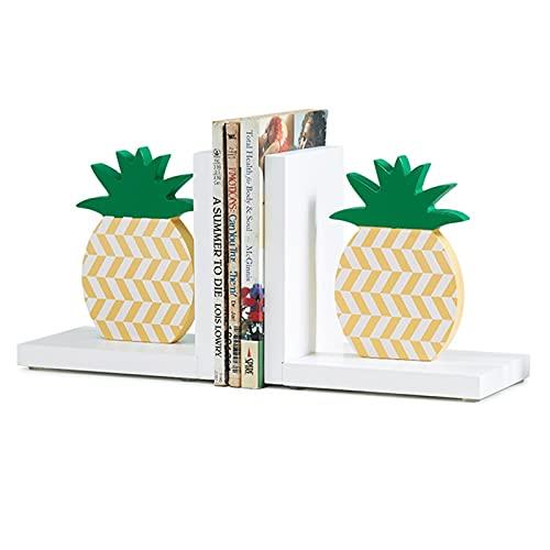 WTPU Sujetalibros Pineapple Sookends Creative Multi-Color Bookselves Decor Kids Book Fin para los Tenedores de Libros de la habitación de los niños 11.8x3.9x5.9in Book Ends