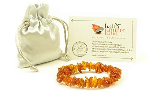 Braccialetto con perle di ambra baltica, per adulti, con elastico, 19 cm e None, colore: cognac, cod. L11